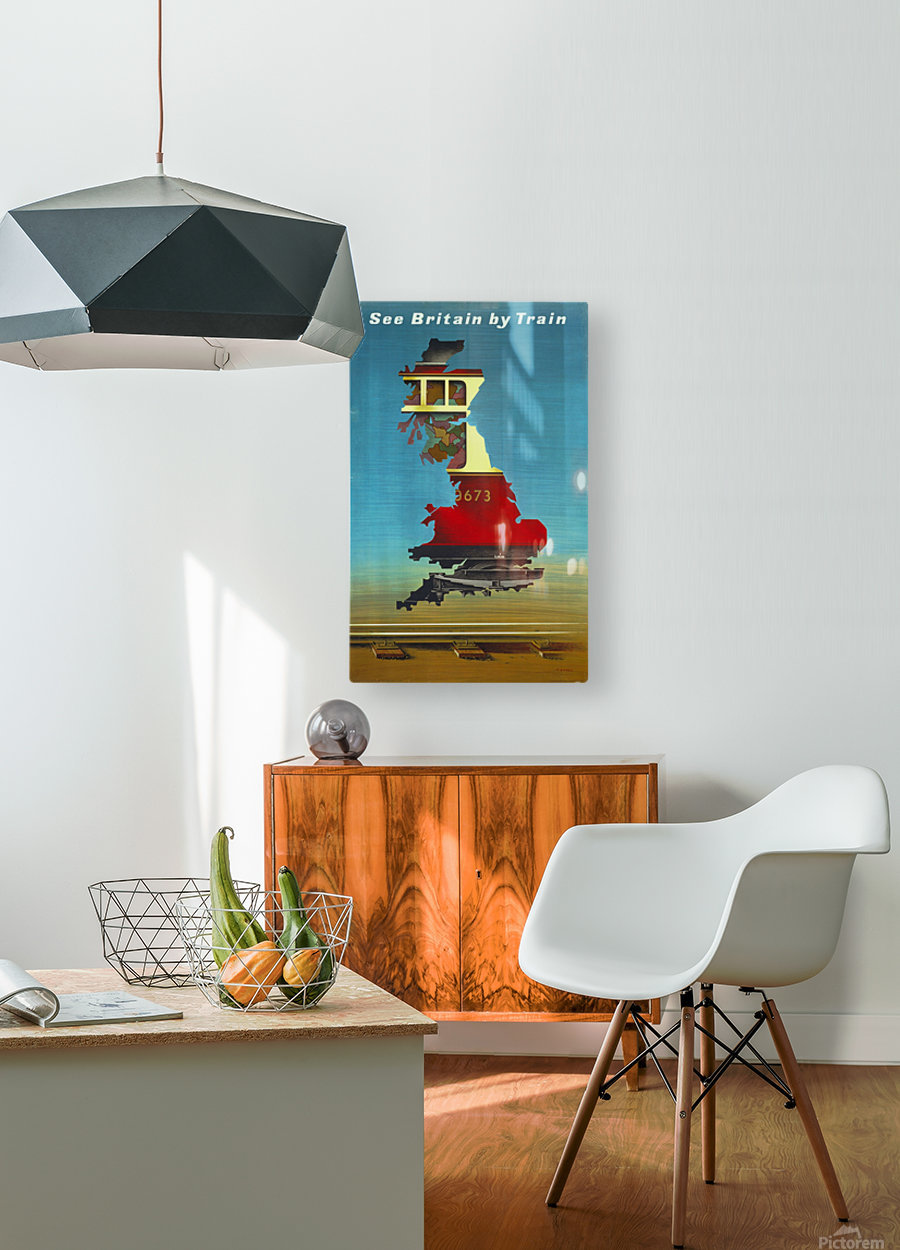 See Britain by Train, 1951 vintage poster  HD Metal print with Floating Frame on Back