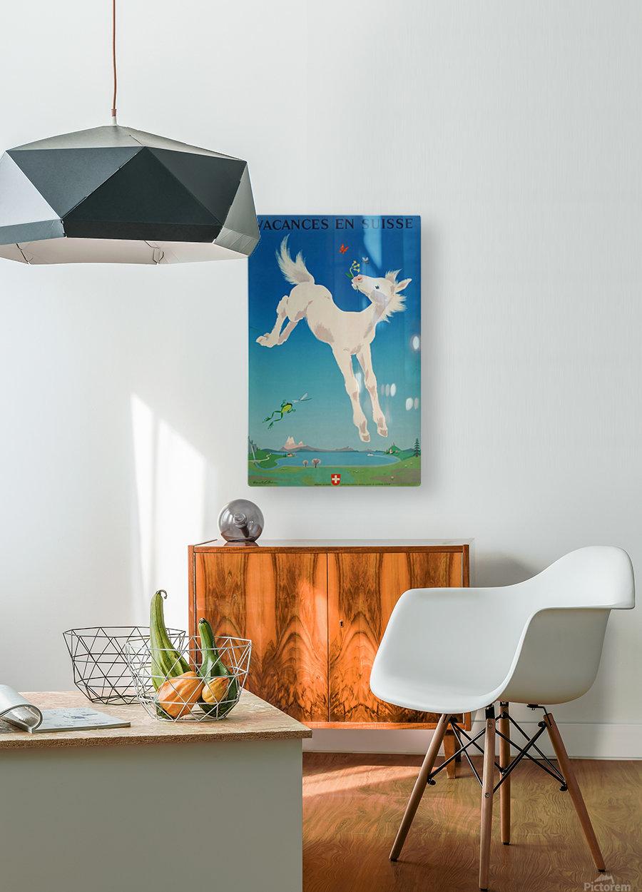 Original vintage poster Vacances en Suisse  HD Metal print with Floating Frame on Back