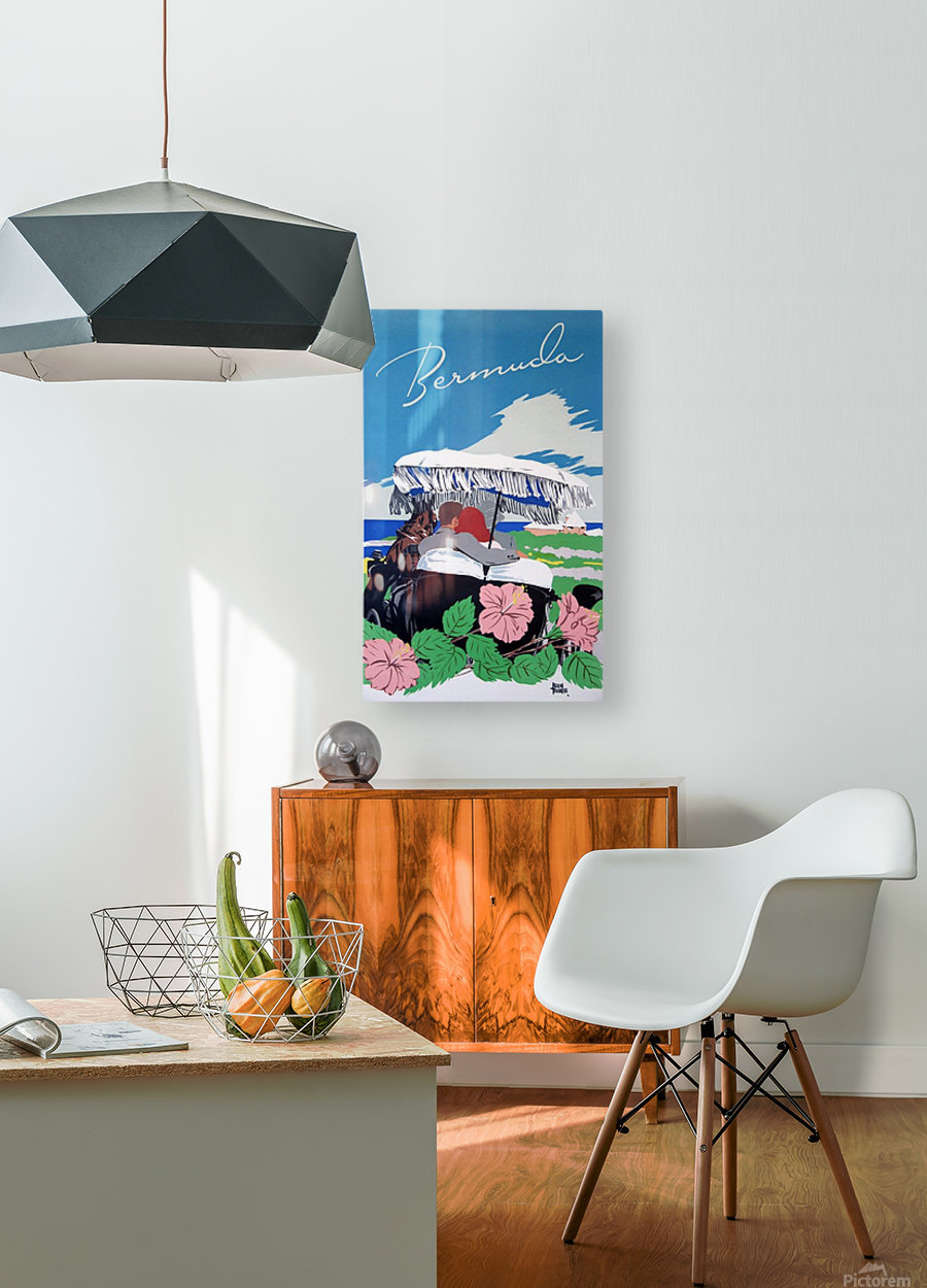 Bermuda Beach vintage travel poster  HD Metal print with Floating Frame on Back