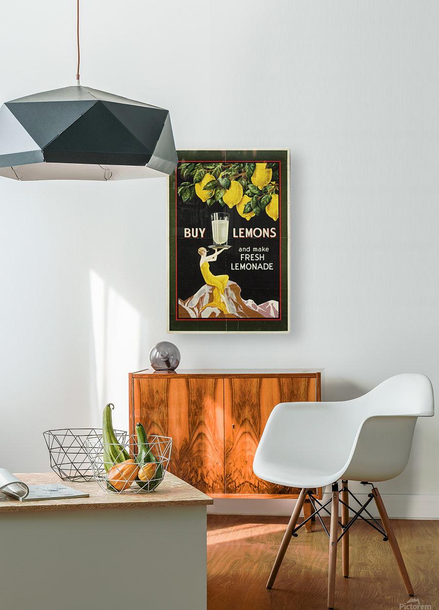 Buy lemons and make lemonade vintage poster  HD Metal print with Floating Frame on Back