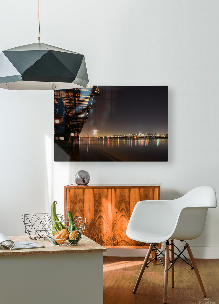 Cool Montreal Victoria Bridge  HD Metal print with Floating Frame on Back