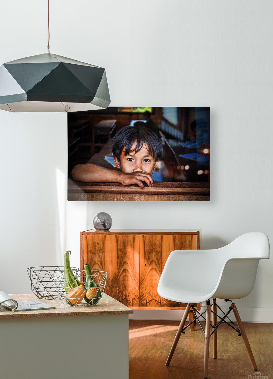 Deep dark eyes  HD Metal print with Floating Frame on Back