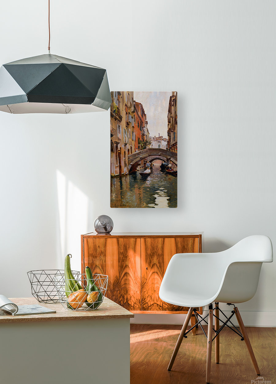 Gondola On a Venetian Canal  HD Metal print with Floating Frame on Back