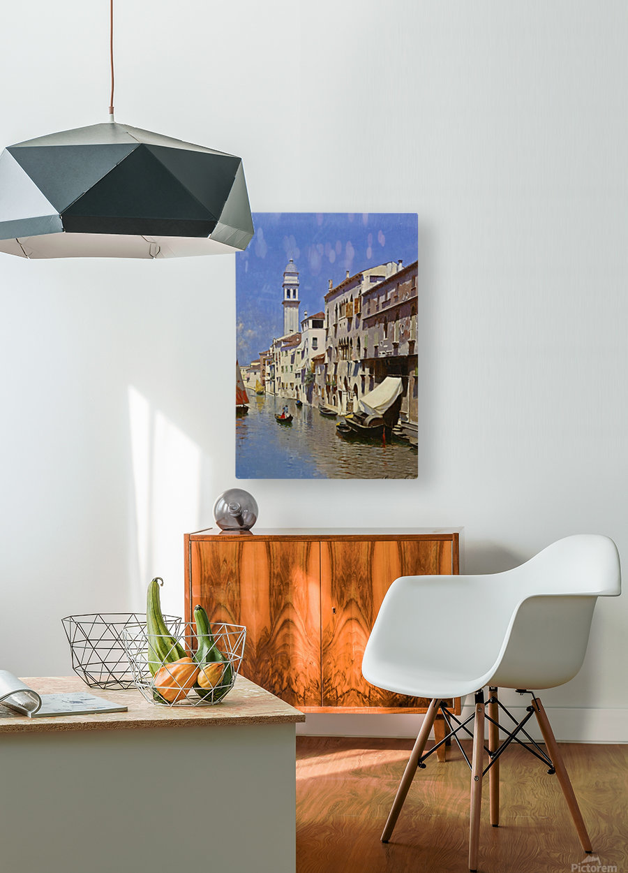 Along a Venetian canal  HD Metal print with Floating Frame on Back