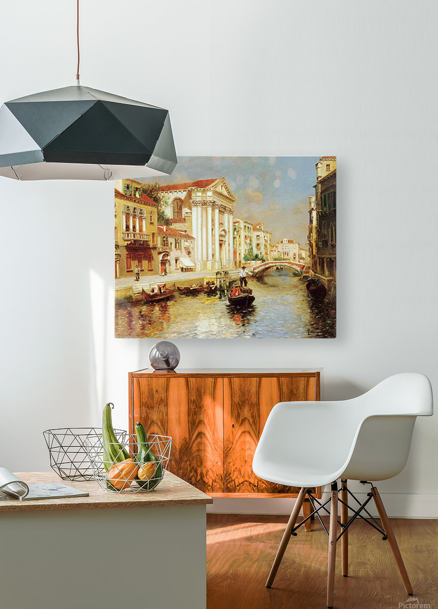 Along the Venetian Canal  HD Metal print with Floating Frame on Back