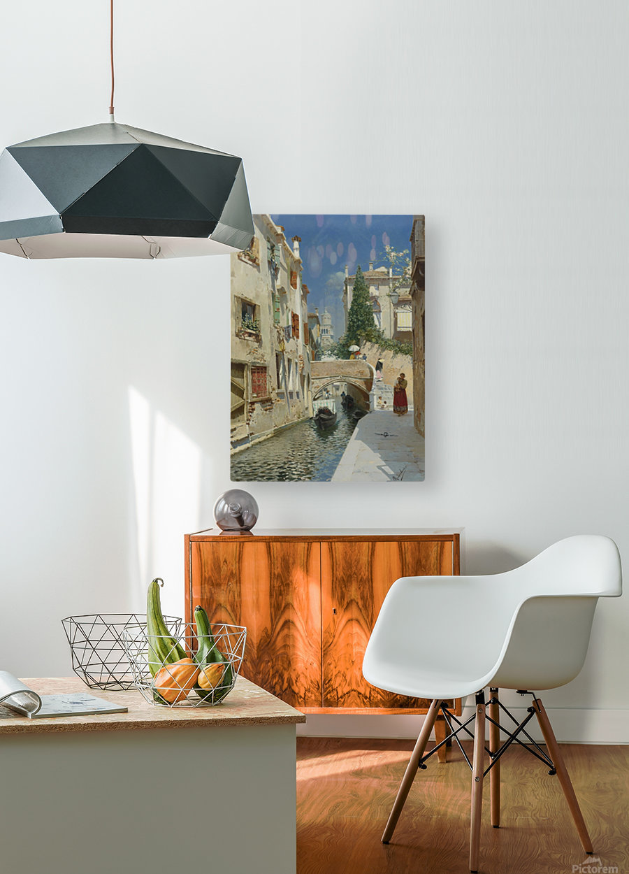 Venetian canal with the campanile of the Frari in the distance  HD Metal print with Floating Frame on Back