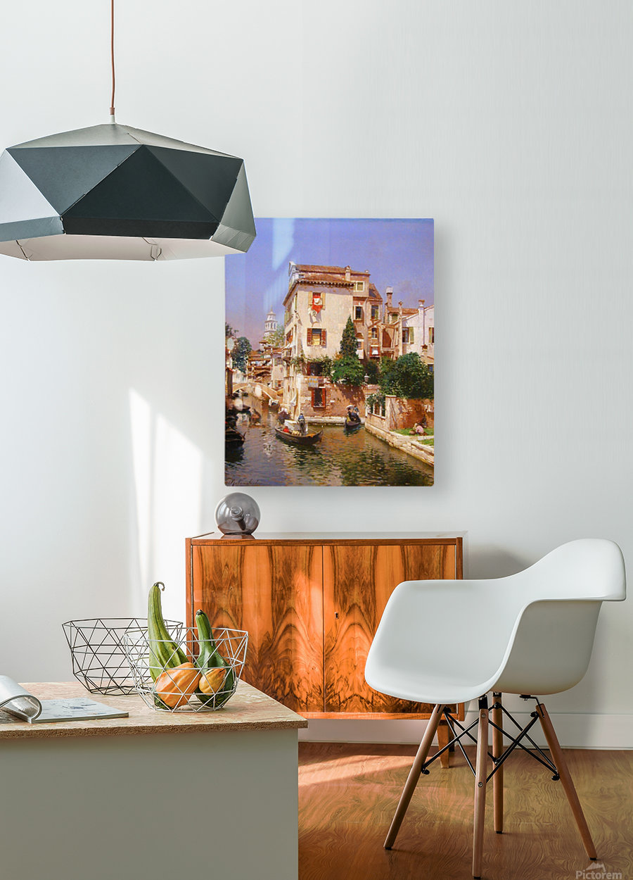 Gondoliers On A Venetian Canal  HD Metal print with Floating Frame on Back