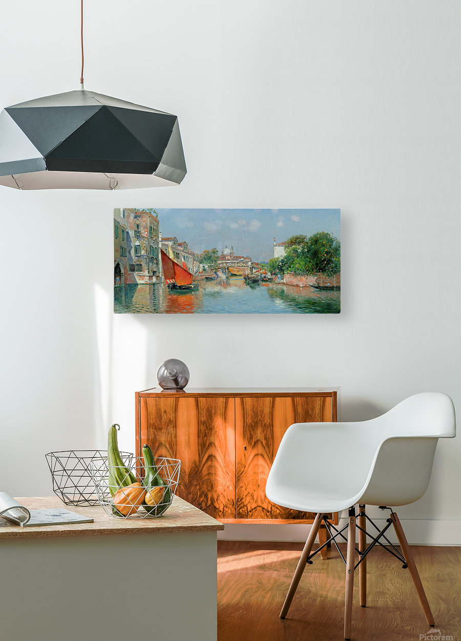 Boats along a Venetian canal  HD Metal print with Floating Frame on Back