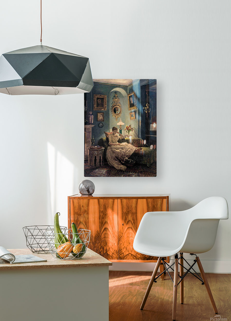 Evening at home  HD Metal print with Floating Frame on Back