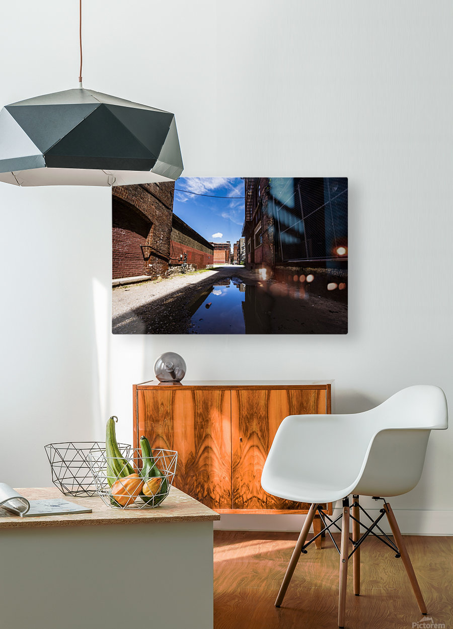 Alley Reflections  HD Metal print with Floating Frame on Back