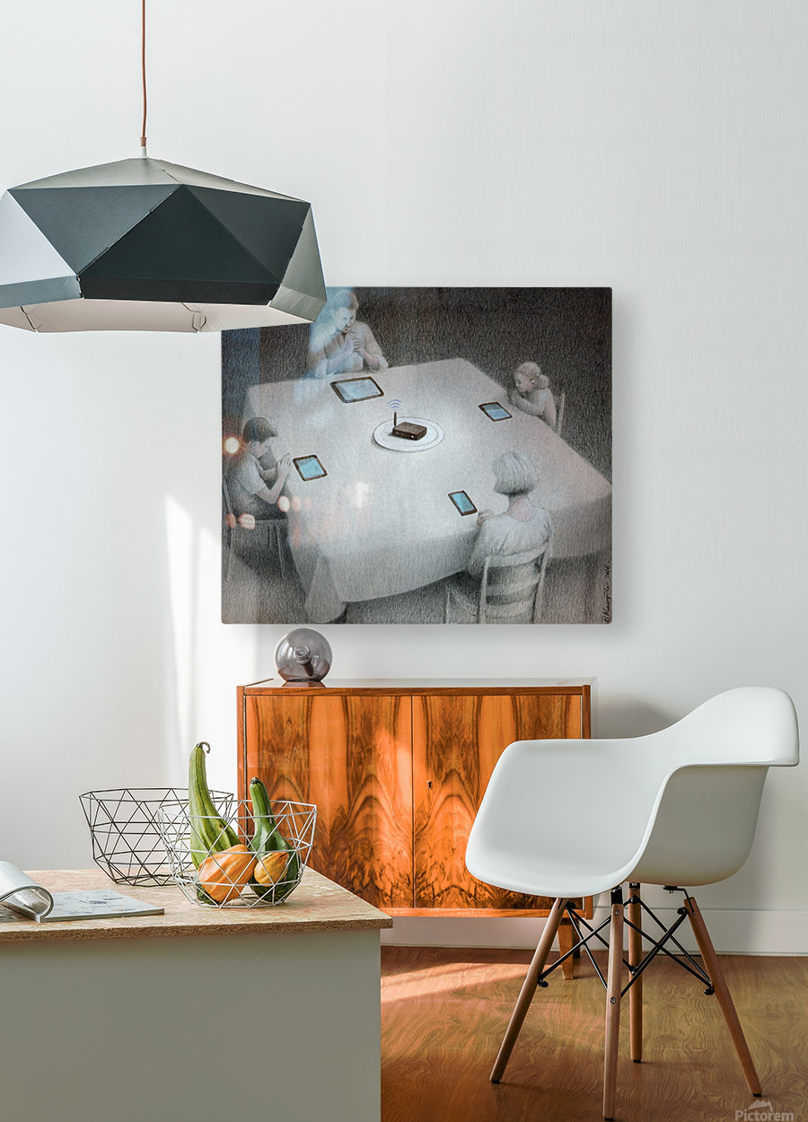 dinner  HD Metal print with Floating Frame on Back