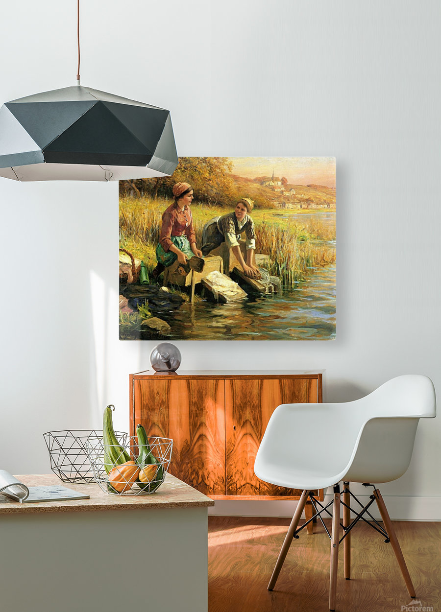 Women washing clothes by a stream  HD Metal print with Floating Frame on Back