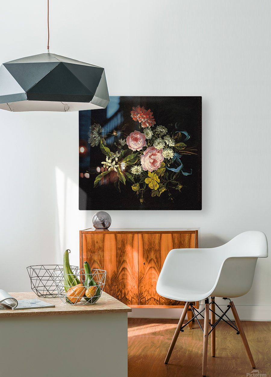 Bouquet of Chamomile, French roses and other flowers  HD Metal print with Floating Frame on Back