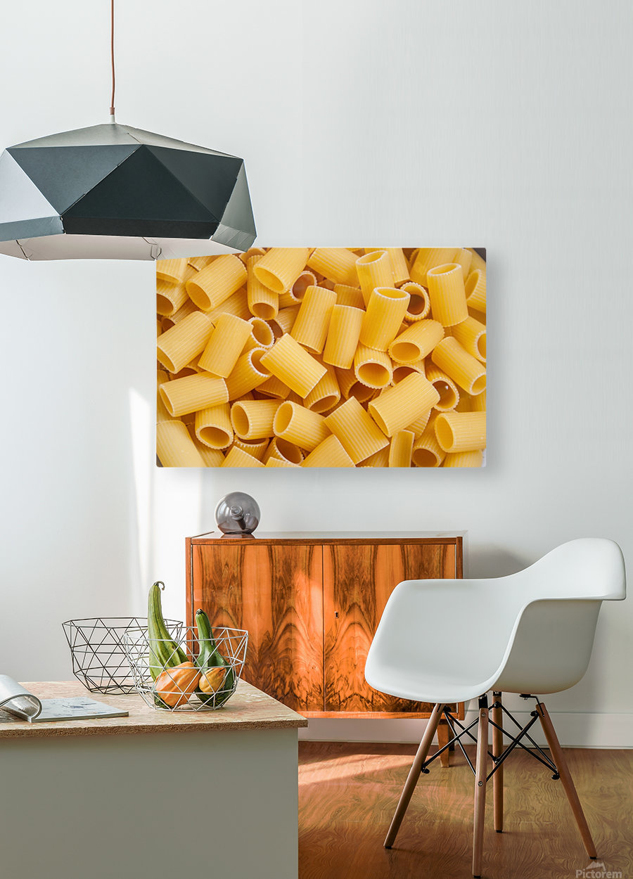 Dry pasta background   HD Metal print with Floating Frame on Back