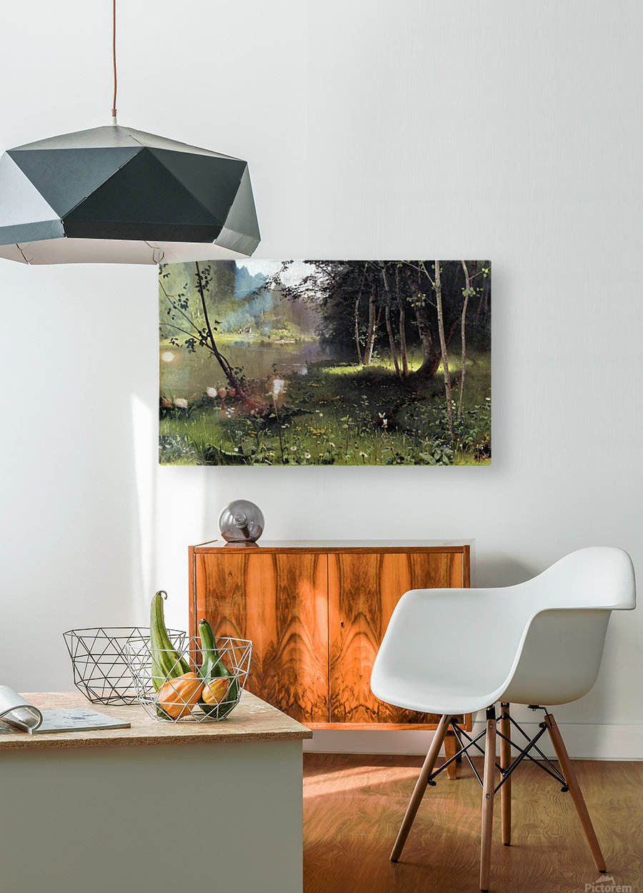Forest river  HD Metal print with Floating Frame on Back