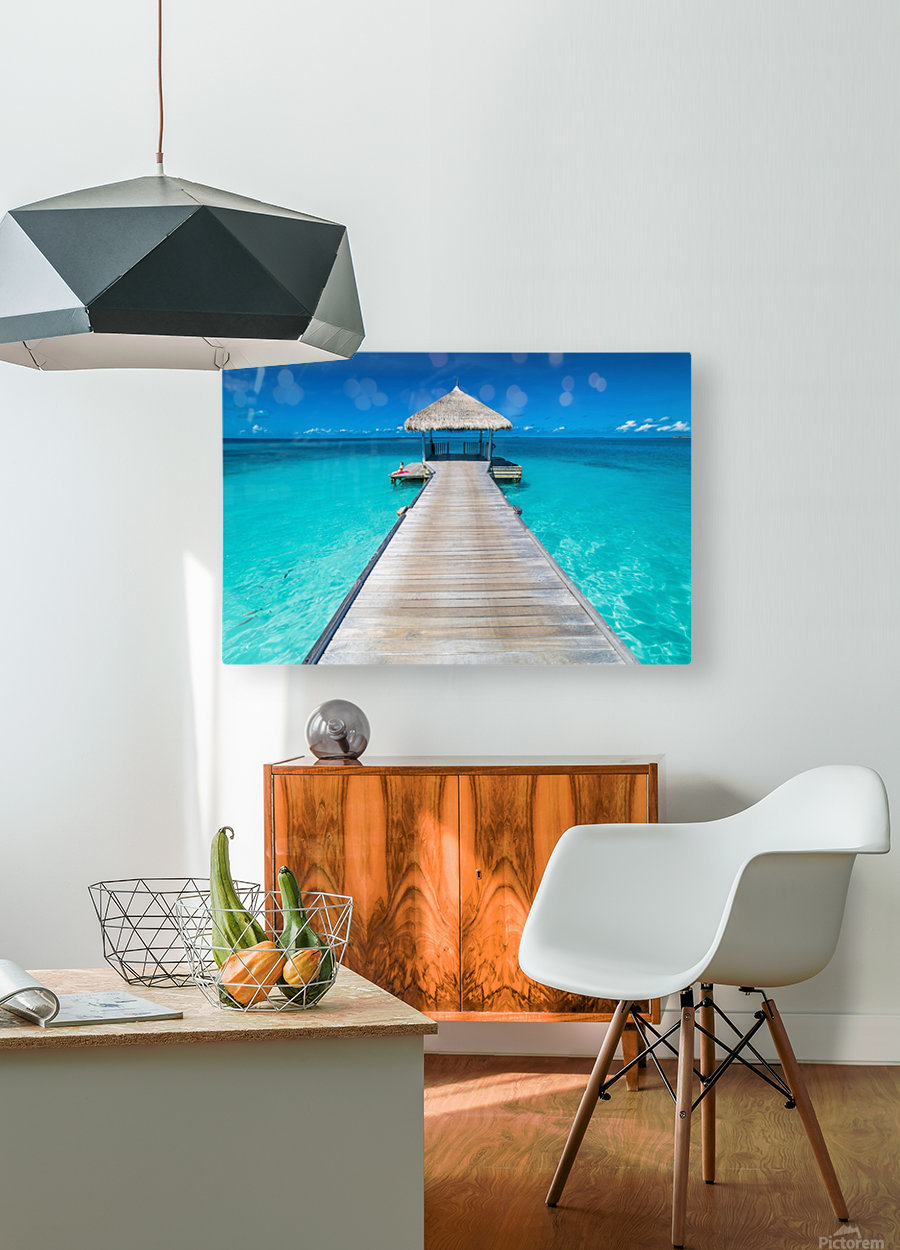 View of water bungalow in tropical island, Maldives, Indian ocean  HD Metal print with Floating Frame on Back