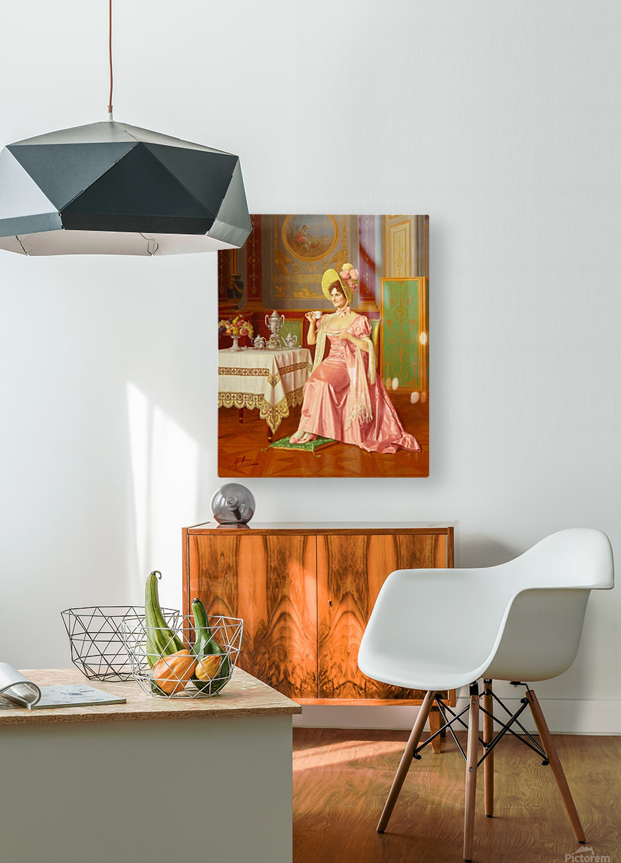 Lady having tea  HD Metal print with Floating Frame on Back