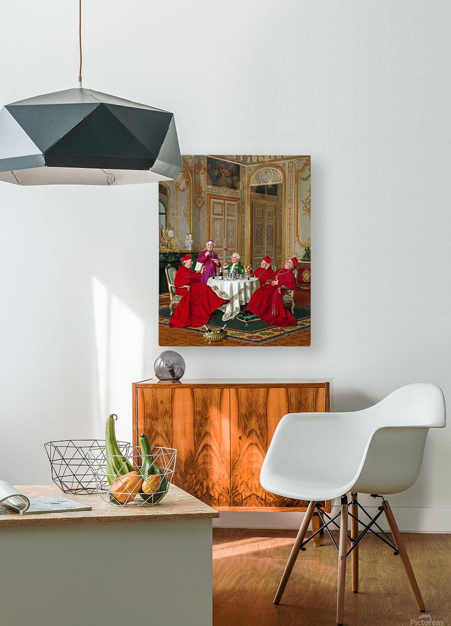 A couple of cardinals in the living room  HD Metal print with Floating Frame on Back