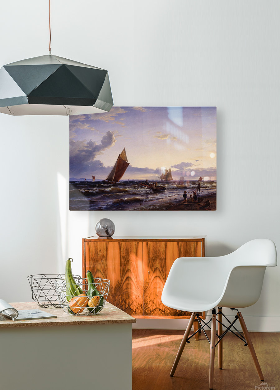 Beach at Hornbaek in the early morning  HD Metal print with Floating Frame on Back