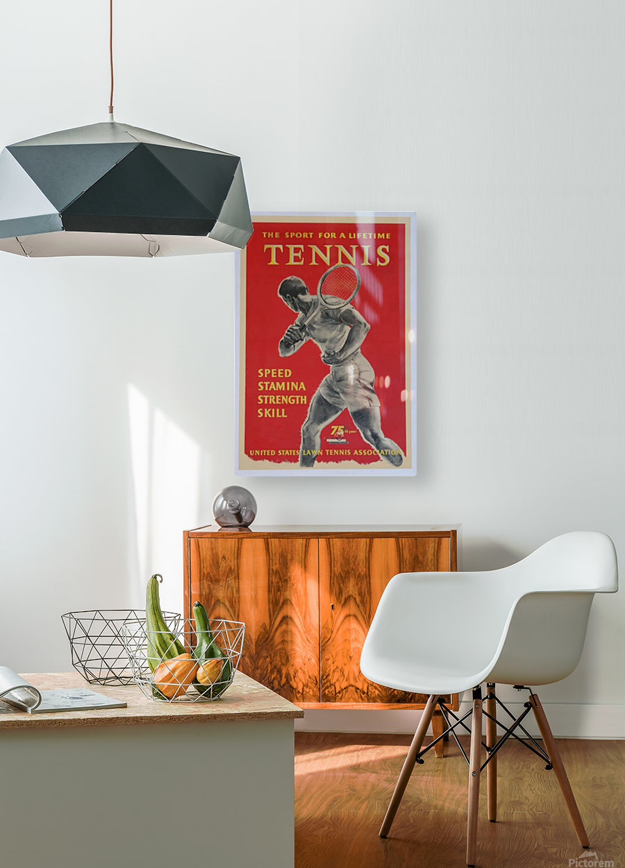 United States Lawn Vintage Tennis Poster in 1956  HD Metal print with Floating Frame on Back