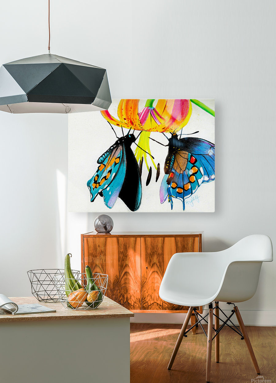 Butterflies and Lily  HD Metal print with Floating Frame on Back
