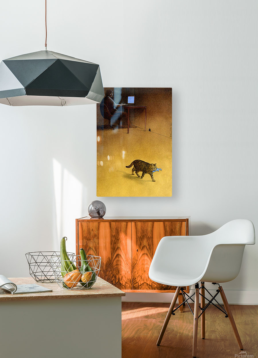 Modern Hunter  HD Metal print with Floating Frame on Back
