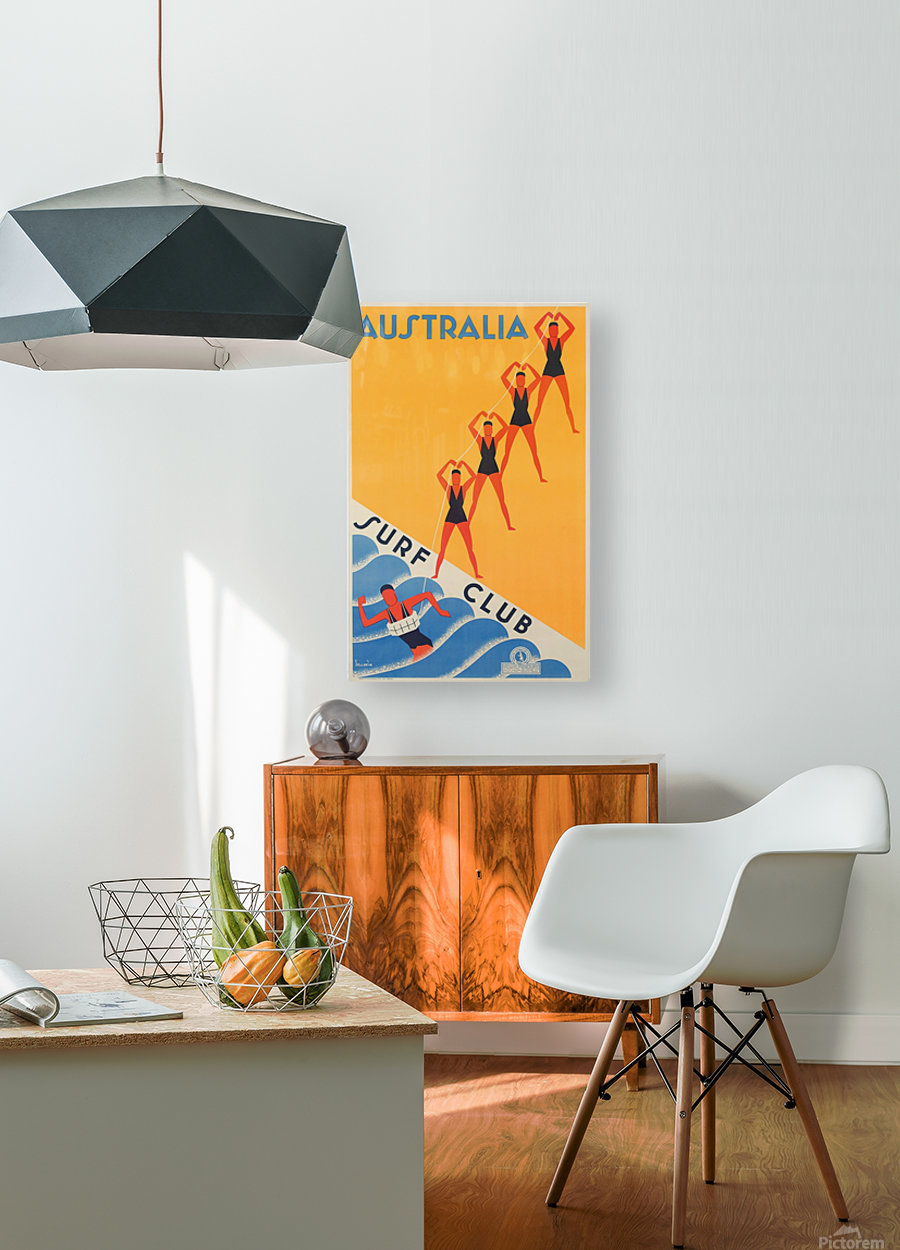 Australia Surf Club poster  HD Metal print with Floating Frame on Back