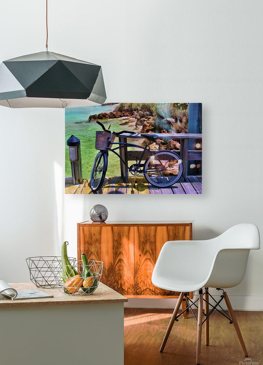 beach  bike   HD Metal print with Floating Frame on Back
