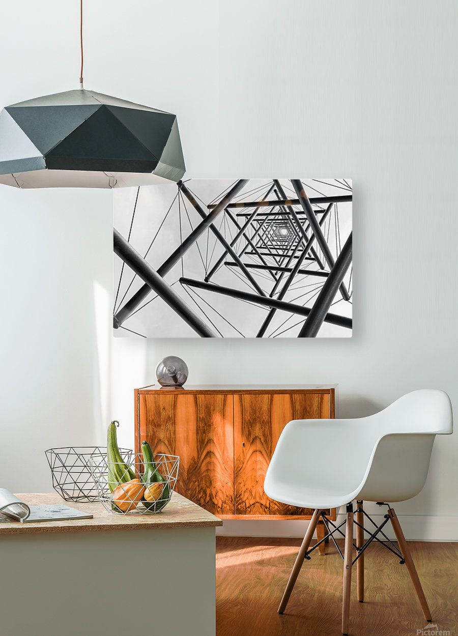 Lines  HD Metal print with Floating Frame on Back