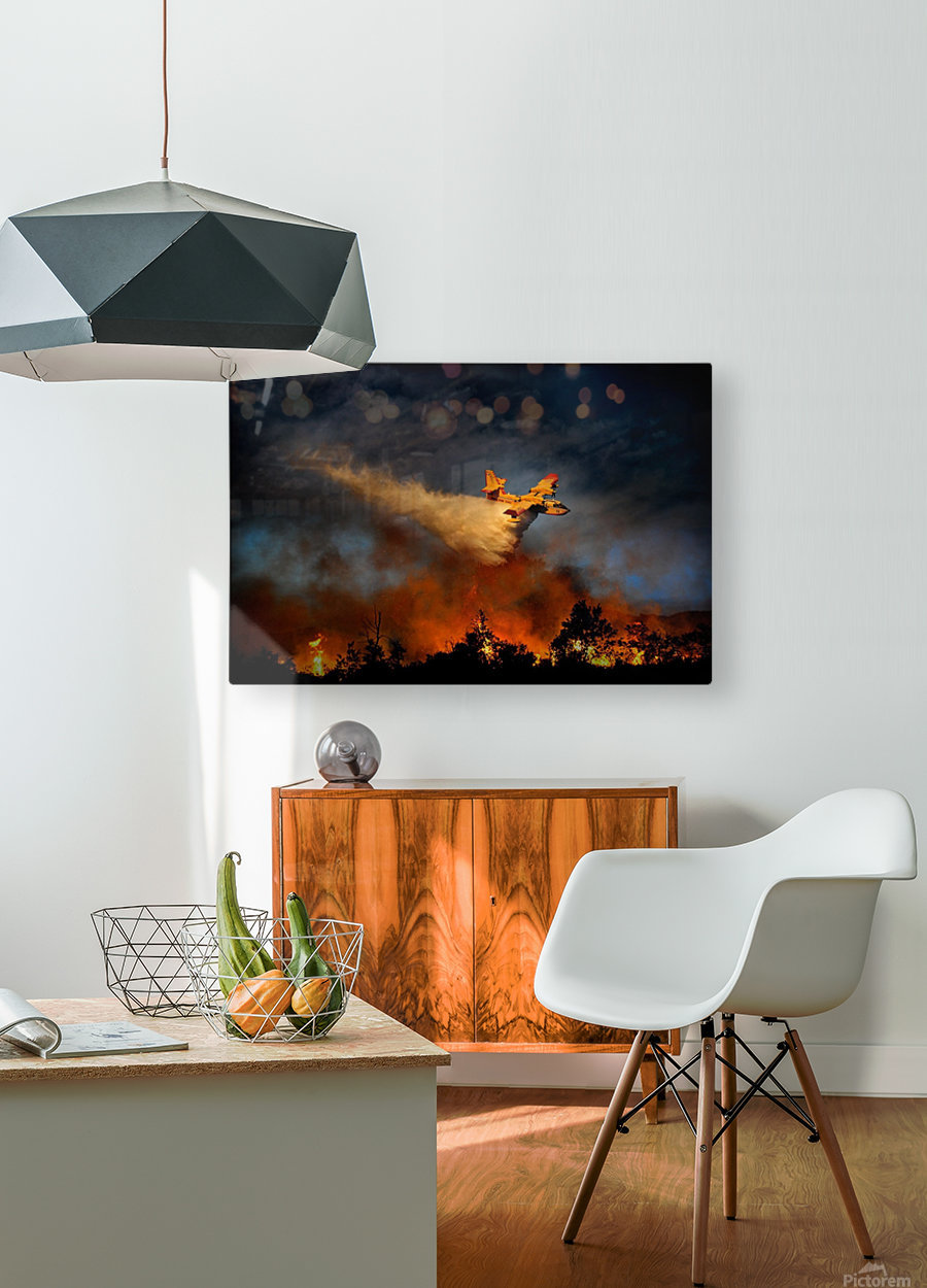 Wall of fire  HD Metal print with Floating Frame on Back