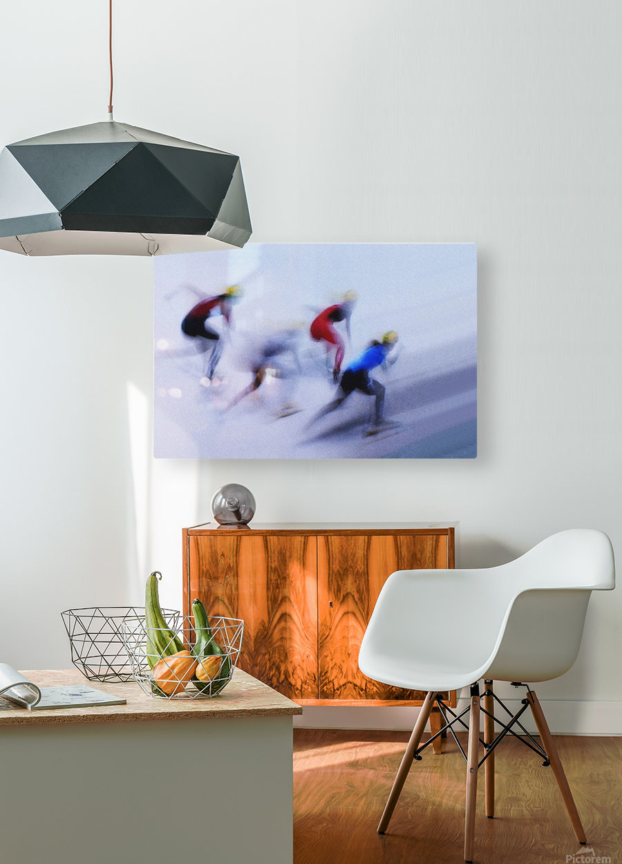 Speed Skating 1  HD Metal print with Floating Frame on Back