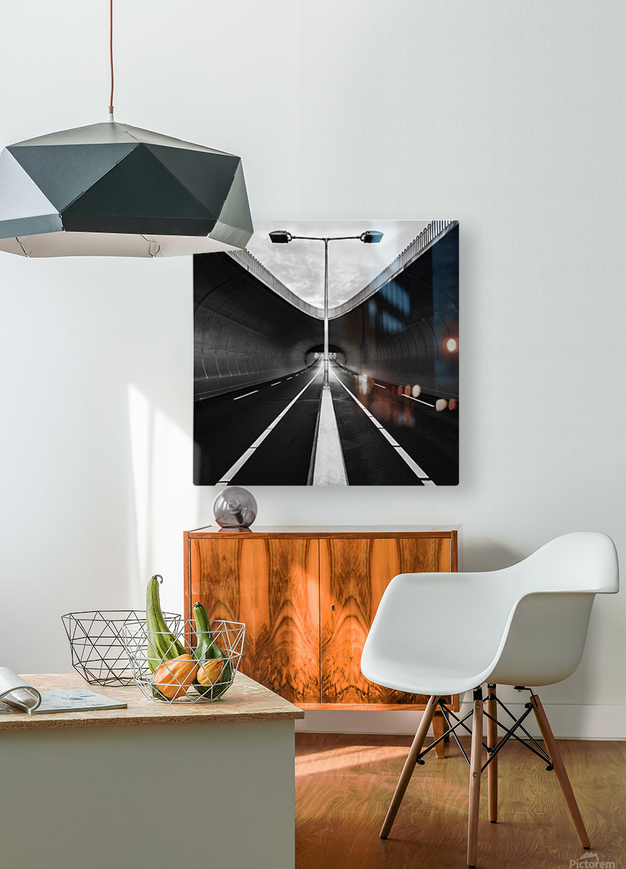 tunnel  HD Metal print with Floating Frame on Back