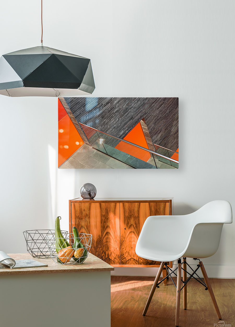 Repeat the orange  HD Metal print with Floating Frame on Back