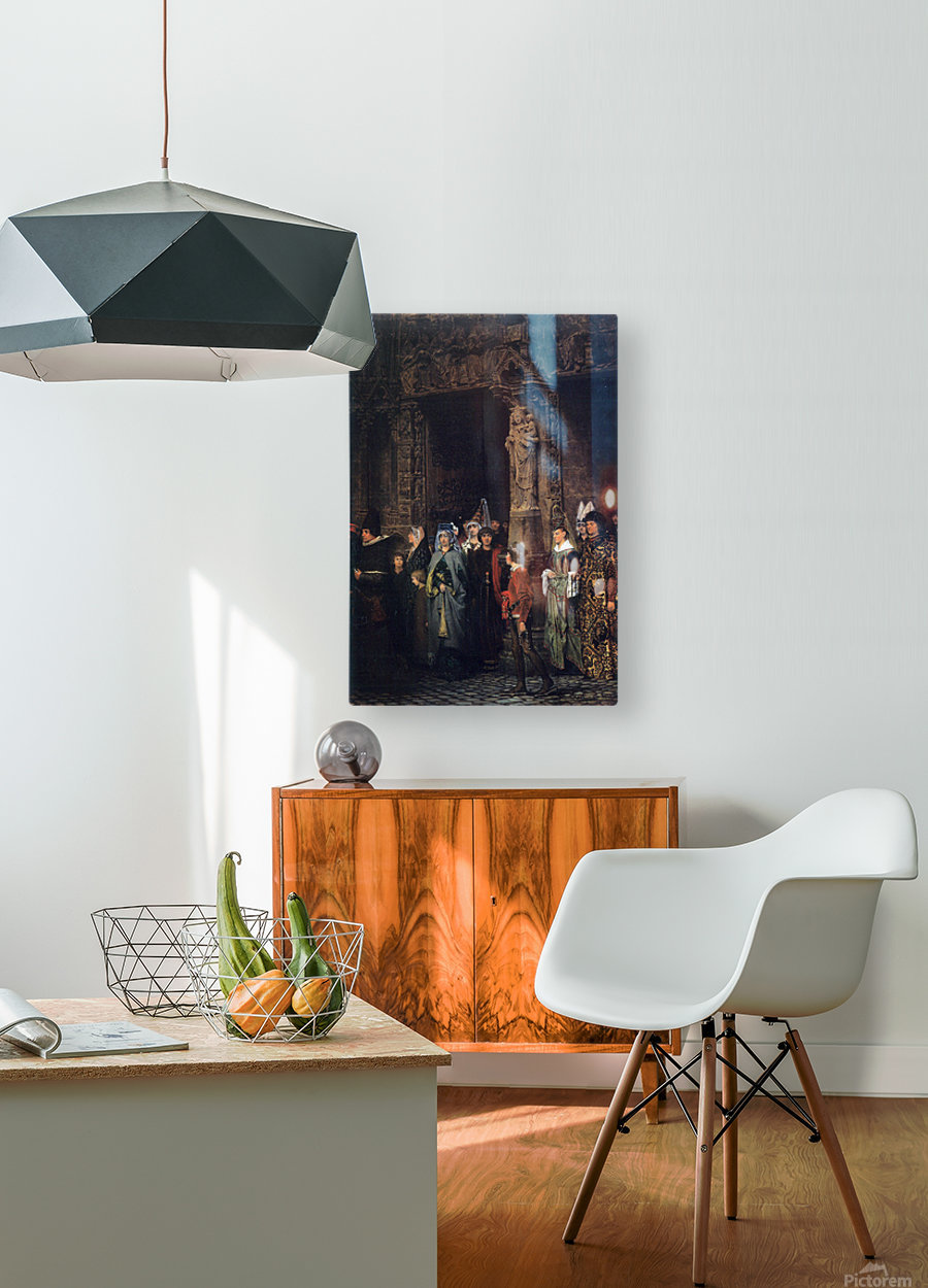 Leaving a church in the 15th Century by Alma-Tadema  HD Metal print with Floating Frame on Back