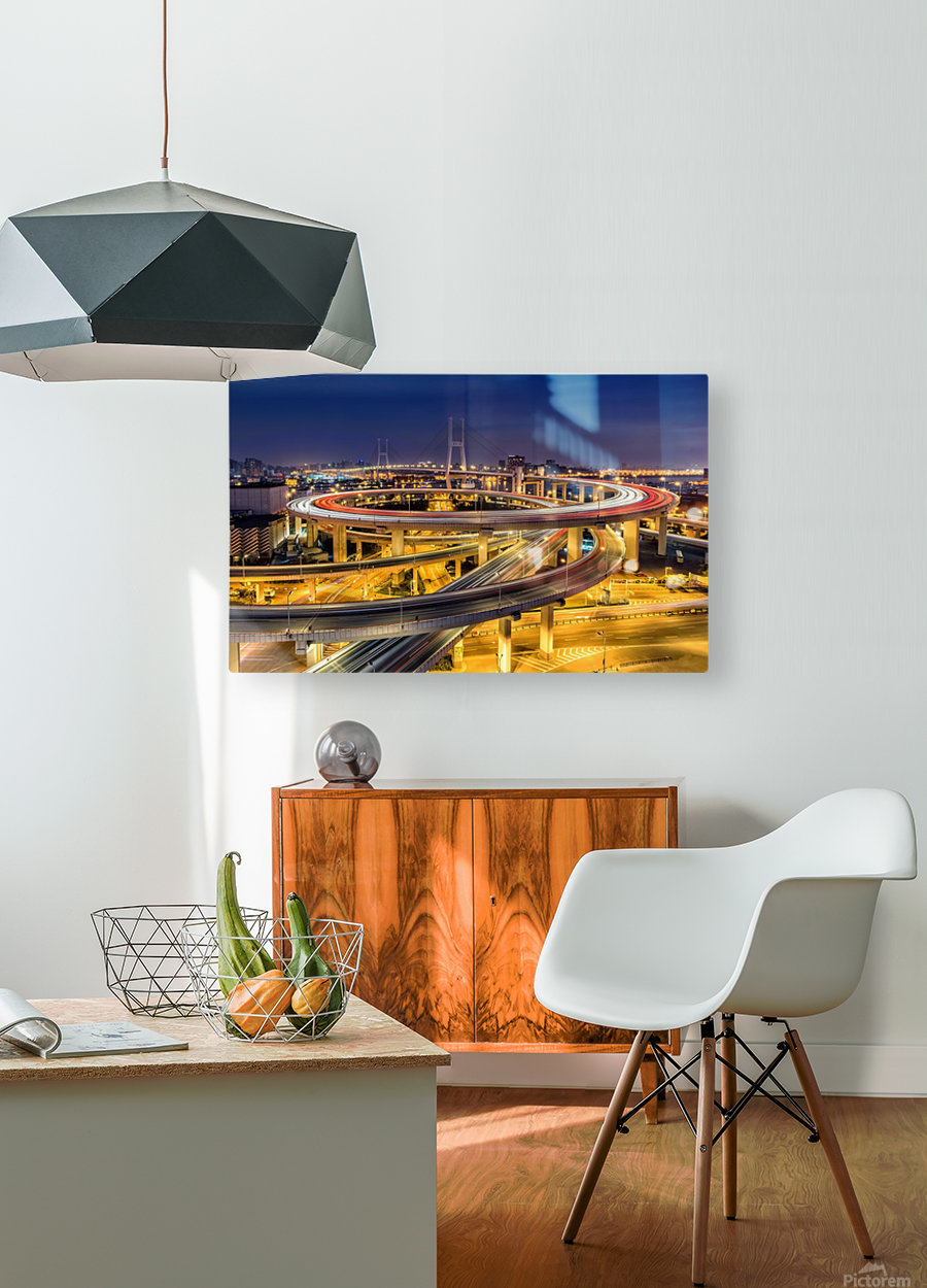 Nanpu Bridge  HD Metal print with Floating Frame on Back