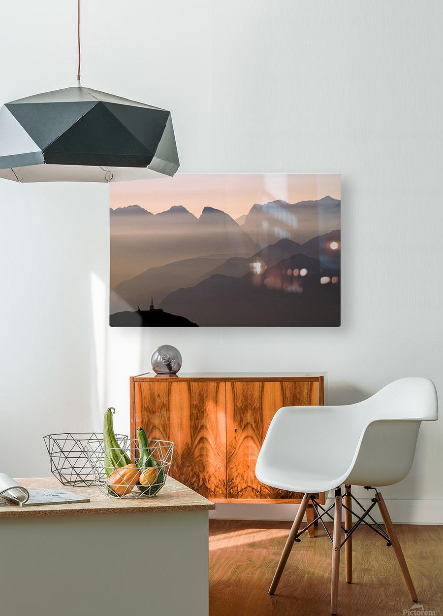 Alpine Sunset  Impression métal HD avec cadre flottant sur le dos