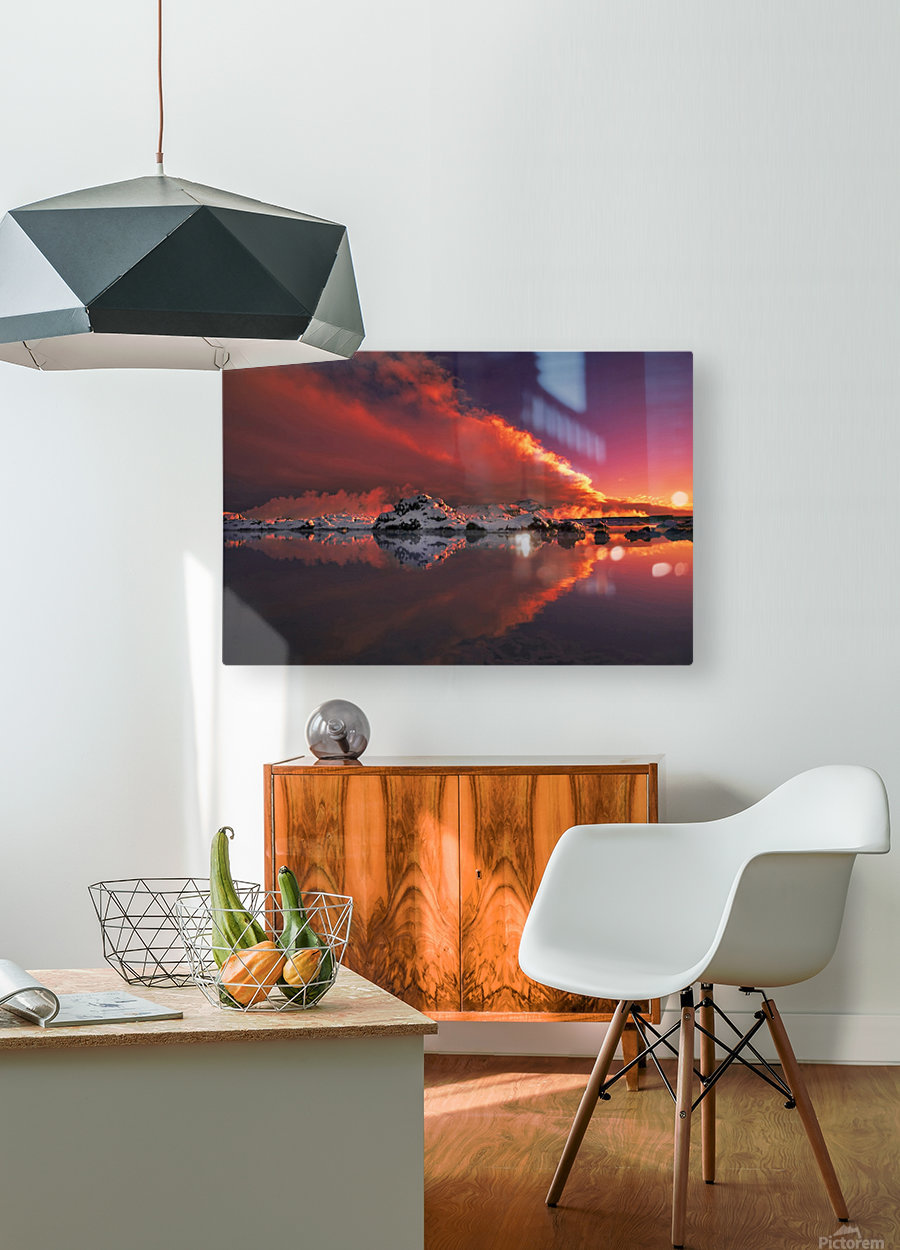 Ice & Fire  HD Metal print with Floating Frame on Back