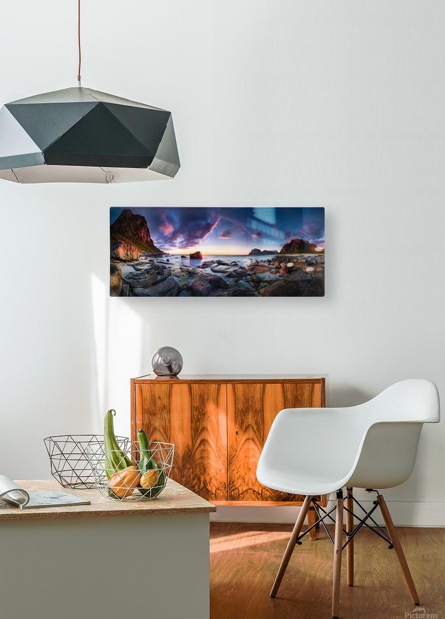Utakleiv sunset  HD Metal print with Floating Frame on Back