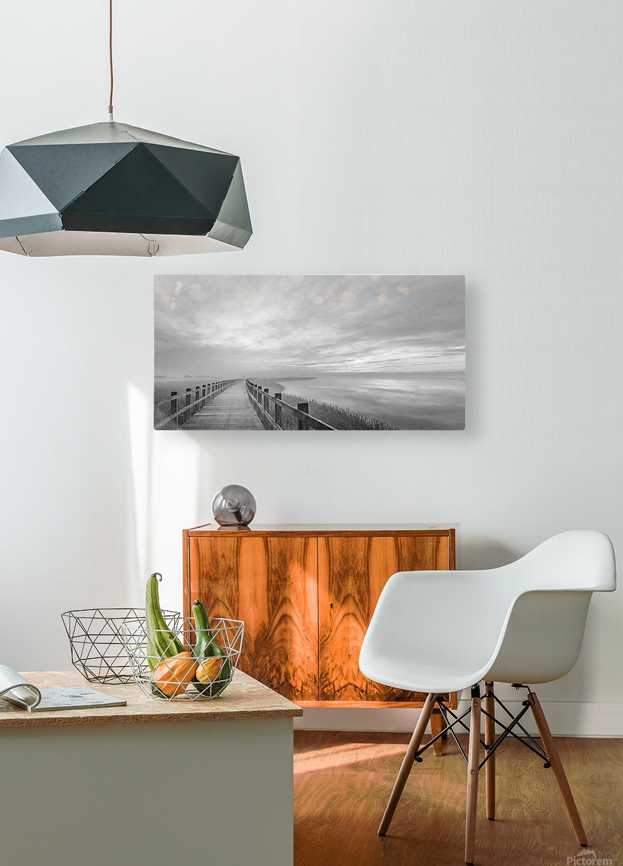 The long wooden footbridge.  HD Metal print with Floating Frame on Back