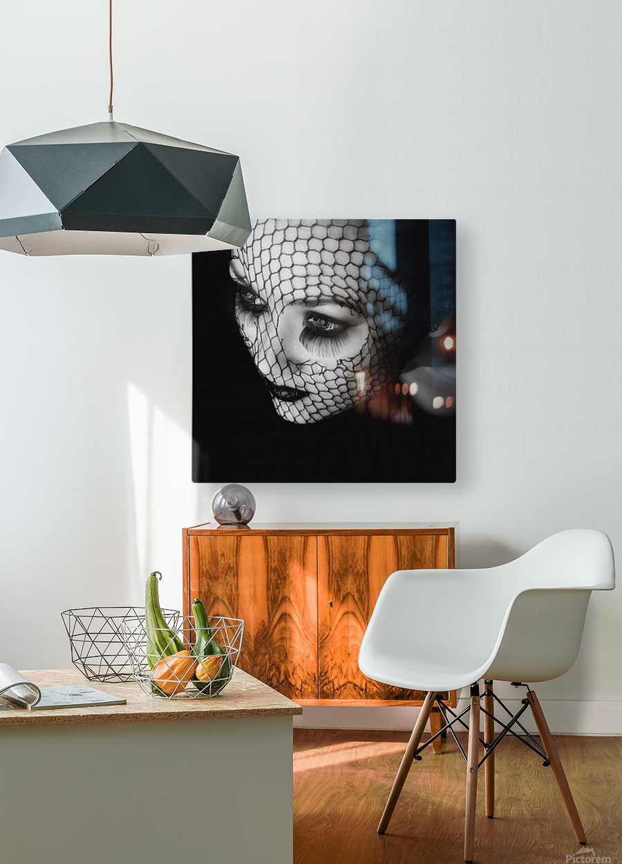 Black  HD Metal print with Floating Frame on Back