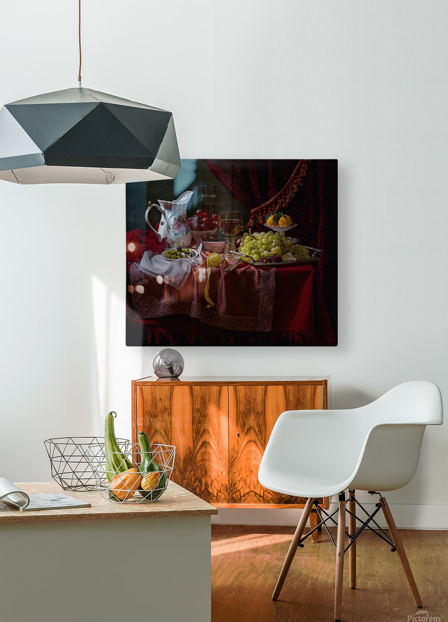 Still life in the Dutch style with a jug  HD Metal print with Floating Frame on Back
