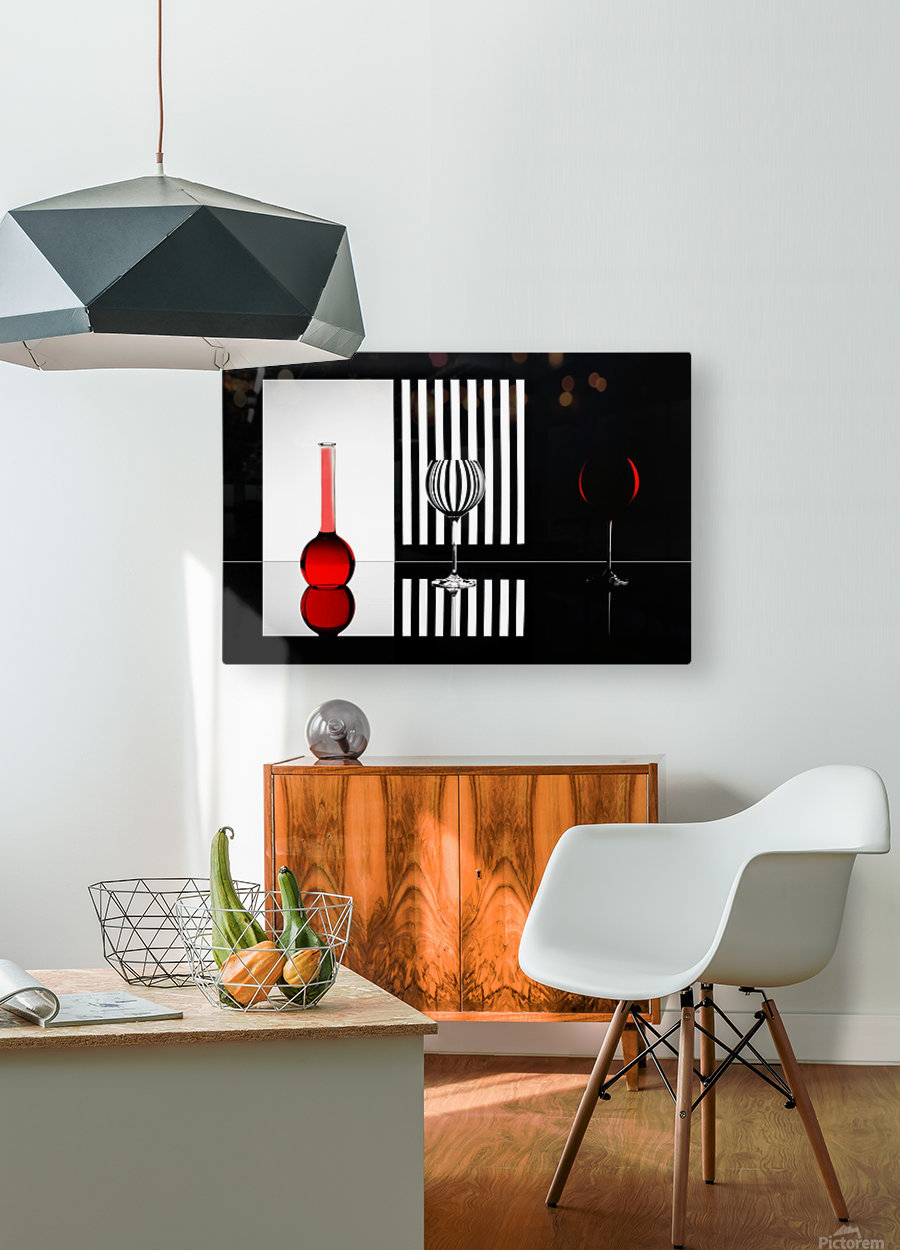 Just RED  HD Metal print with Floating Frame on Back