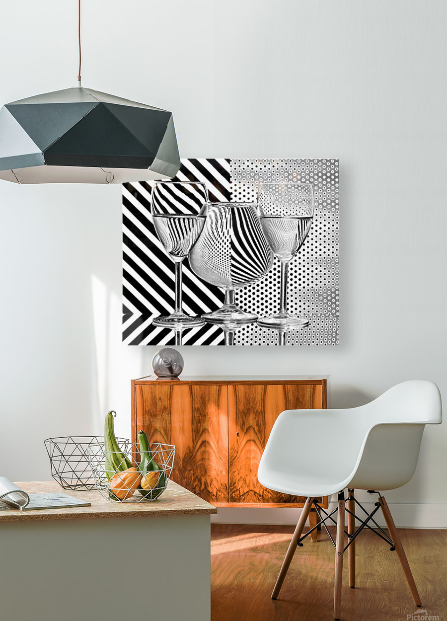 Dots and stripes  HD Metal print with Floating Frame on Back