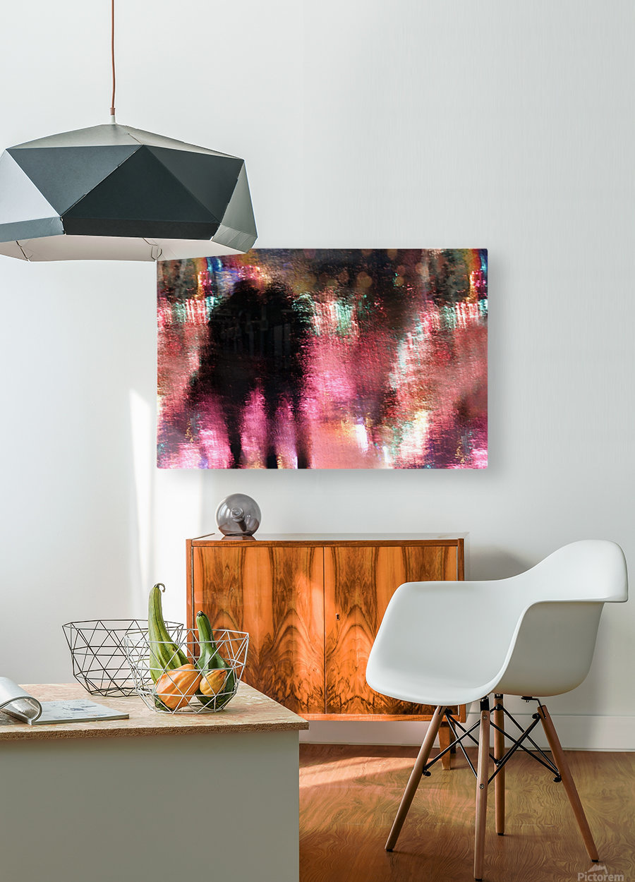 Rain above the funfair  HD Metal print with Floating Frame on Back