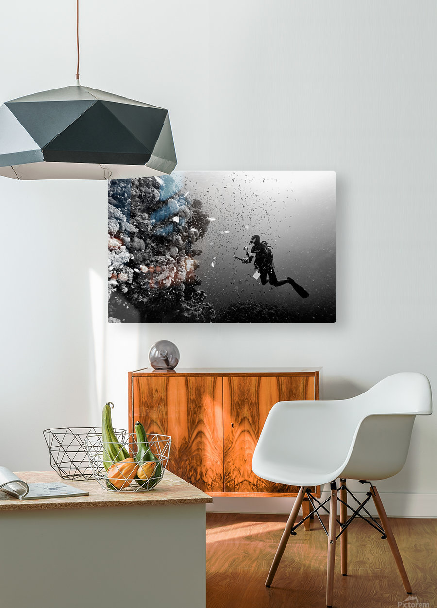 Man at work  HD Metal print with Floating Frame on Back