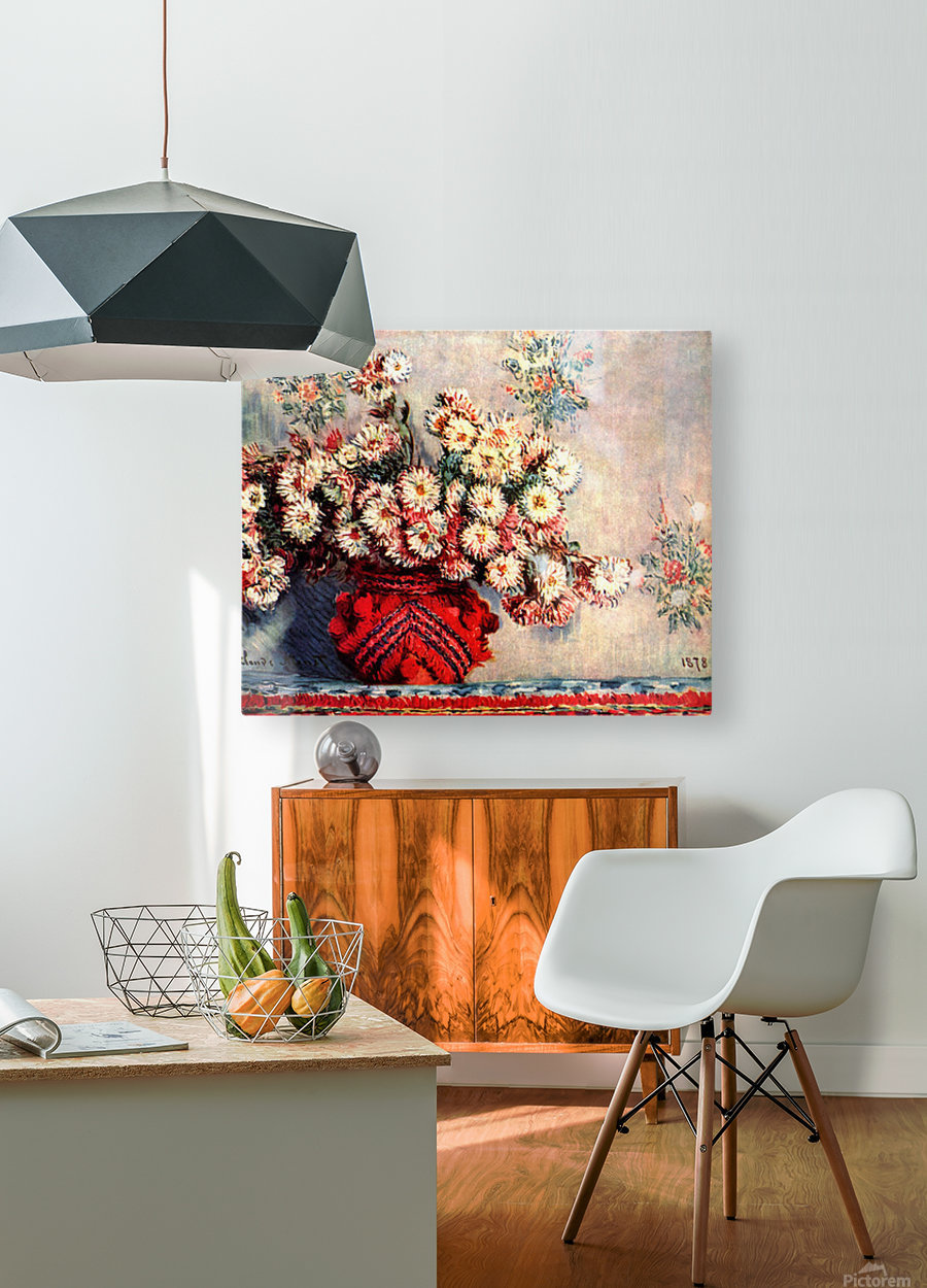 still life chrysanthemums  HD Metal print with Floating Frame on Back