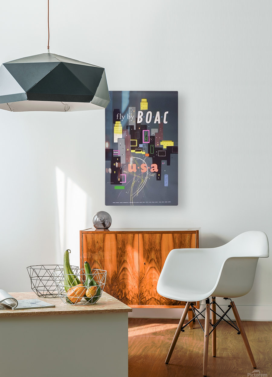 Original 1954 BOAC USA Travel Poster  HD Metal print with Floating Frame on Back