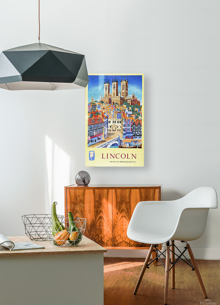 Lincoln vintage travel poster for British Railways  HD Metal print with Floating Frame on Back