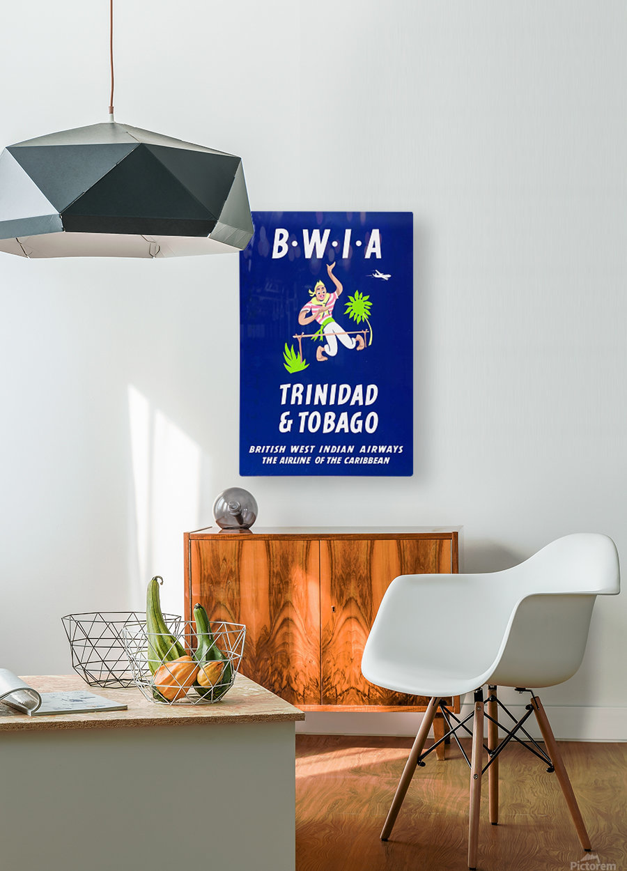 BWIA Trinidad Tobago original travel poster  HD Metal print with Floating Frame on Back
