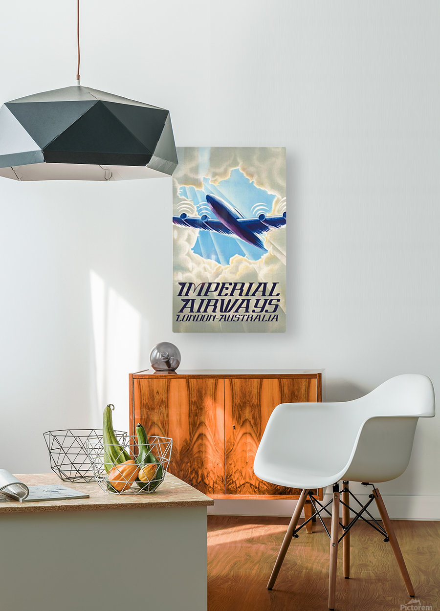 Imperial Airways London - Australia vintage travel poster  HD Metal print with Floating Frame on Back